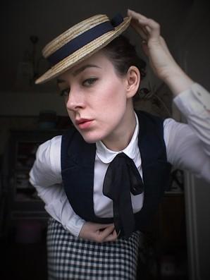 Straw Edwardian style hat
