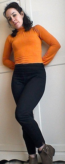 Sixties style casual polo neck and jeans pixie boots