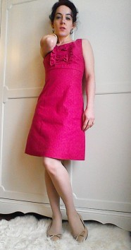 Barefoot in the Park Jane Fonda style pink shift dress