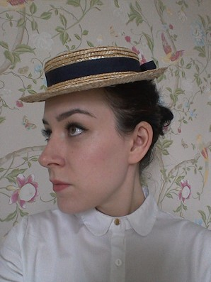 Straw boater/ perch hat
