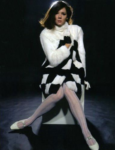 Diana Rigg monochrome fun fur coat