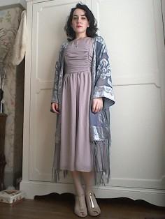 Grey silver fringed kimono