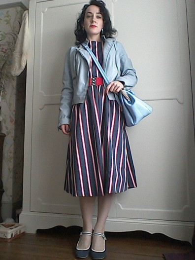 Striped midi dress blue leather jacket