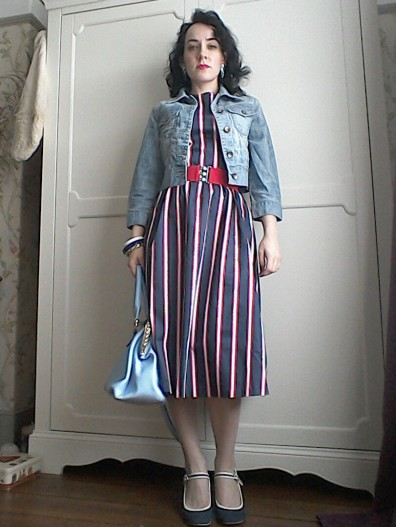 Striped midi dress cropped denim jacket