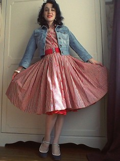 Red gingham circle skirt dress cropped denim jacket