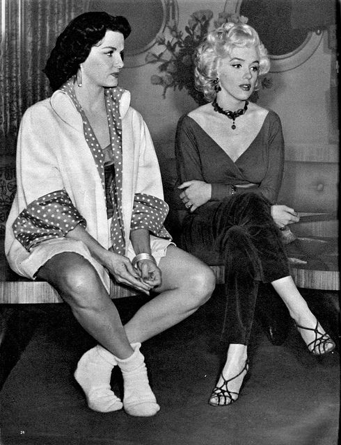 Black strappy sandals - Marilyn Monroe and Jane Russell on the set of Gentlemen Prefer Blondes