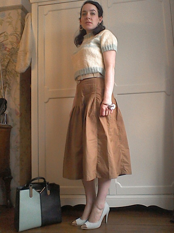 Striped cropped sweater and dirndl skirt by The Girl loves vintage Dune shoes