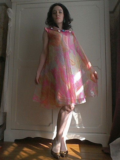 Floaty psychedelic dress Sixties true vintage-2 tabbard like Pucci