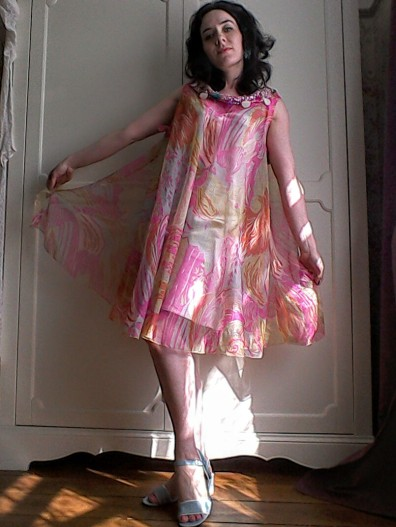 Floaty psychedelic dress tabbard Sixties like Pucci