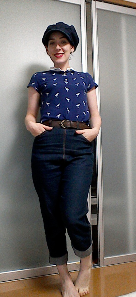 Vivien of Holloway jeans Sixties style baker boy cap Mademoiselle R polo shirt