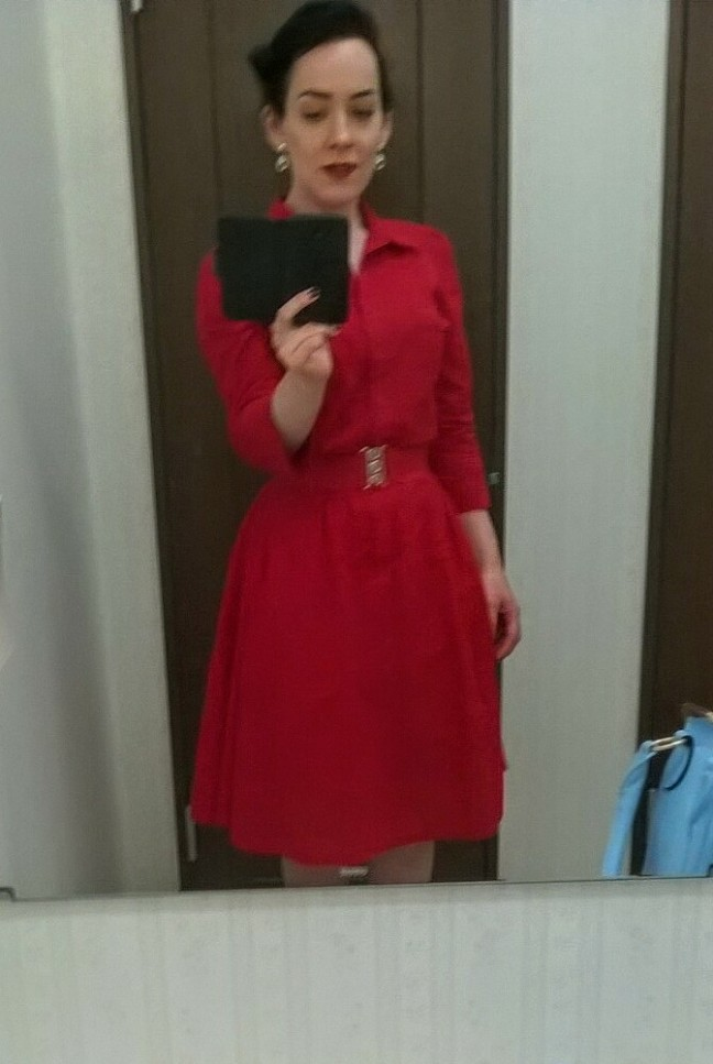 Sunday in red, with the grey heels and gold hoops