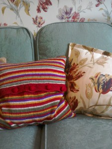 Stripe Bloomsbury style cushion cover Laura Ashley cranberry Gosford Meadow tulip wallpaper