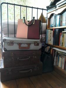 Vintage suitcases storage and River Island handbag