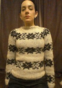 Home knitted version of Sarah Lund's jumper-The Killing series 1-my jumper-Snowflake pattern-fairisle- Forbrydelsen