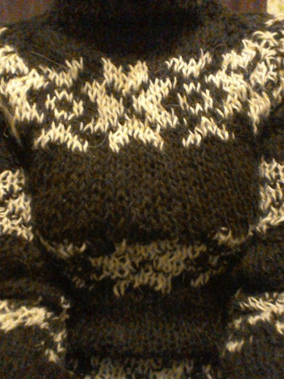 Pattern detail black The Killing series 2 jumper I knitted Forbrydelsen
