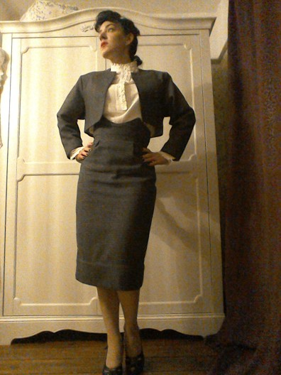 Eighties does Forties skirt suit Bladerunner Rachael piecrust blouse