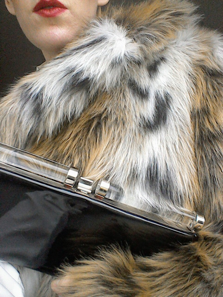 Art Deco or sci-fi clutch perspex black patent faux fur coat Forties Eighties inspired look