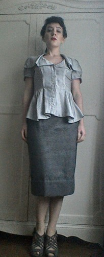 Forties style blouse jacket Bladerunner Rachael inspired grey waterfall collar