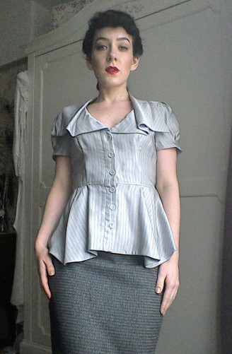 Forties style peplum blouse Next jacket Bladerunner Rachael inspired grey waterfall collar-2
