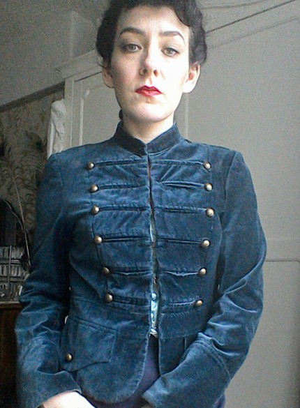 Mandarin collar military style jacket Forties inspired look sixties