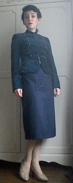 Navy Mandarin collar military style jacket pencil skirt Forties inspired look Bladerunner Rachael