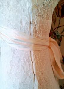 Vintage Thirties lace wedding dress popper side fastening