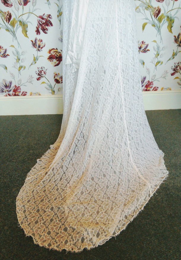 Vintage Thirties lace wedding dress train