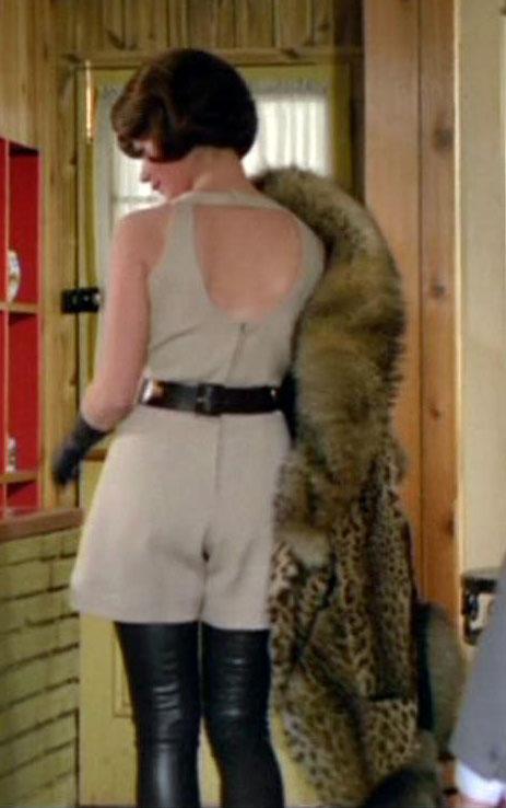 Tara King's thigh high boots cream playsuit back fur coat The Avengers Sixties