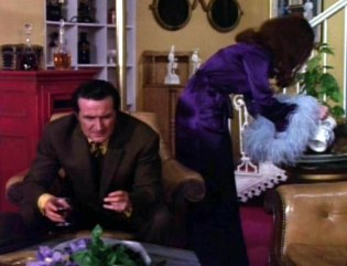 Tara King The Avengers Purple marabou dressing-gown Sixties