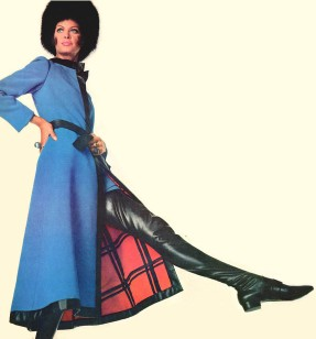 1967 blue maxi coat red lining fur hat black thigh high boots David Evins