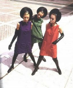 Pierre Cardin block colour mini dress black thigh high boots Sixties long gloves