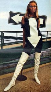 Sixties arrow road sign dress White thigh high boots