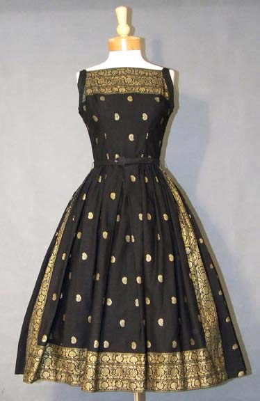 Fifties sari dress black gold