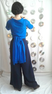 Tie at back wrapover top Palazzo pants