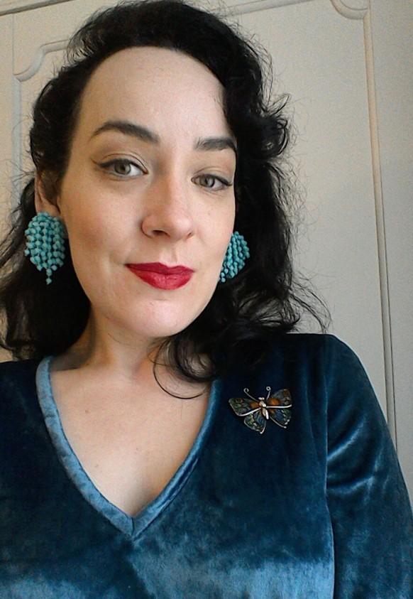 Vintage Fifties Sixties earrings butterfly brooch