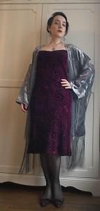 Vintage Twenties style nineties strappy bias velvet dress kimono