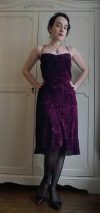 Nineties strappy bias velvet devore dress
