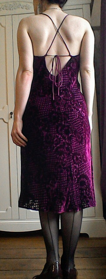 Nineties strappy bias velvet dress