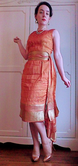 Orange gold sari dress with sash - the girl loves Vintage