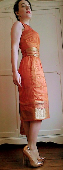 Orange gold sari dress fifties pattern - the girl loves Vintage