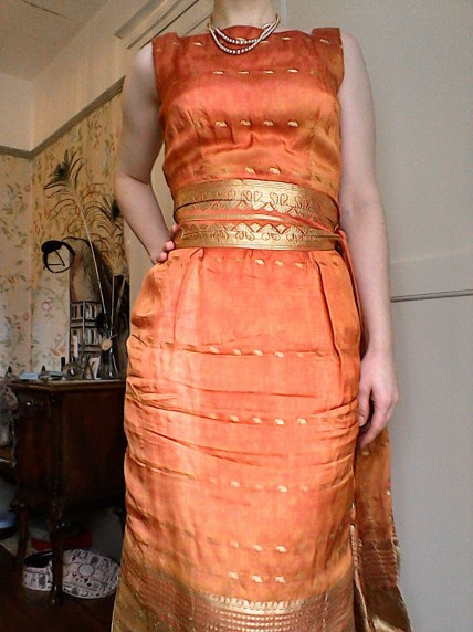 Orange gold sari dress with sash-2 - the girl loves Vintage