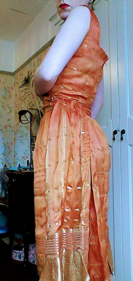 Orange gold sari dress sash - the girl loves Vintage