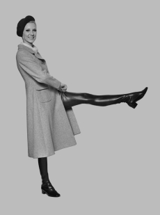 Vicky Hodge thigh high boots 1968 long coat