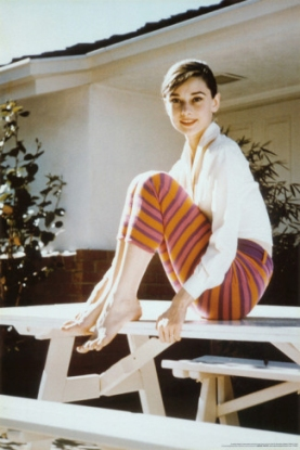 Audrey Hepburn striped cropped trousers