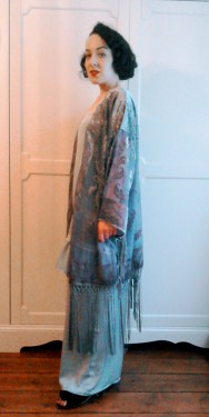 Fringed devore kimono