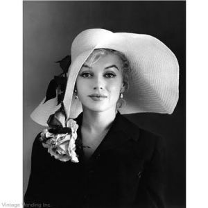 Marilyn straw sun hat with rose