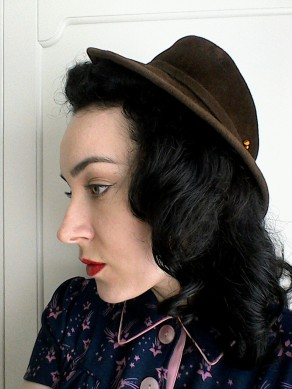 Brown Forties hat with vintage thistle hatpin