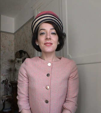 Pink and navy Sixties hat - front
