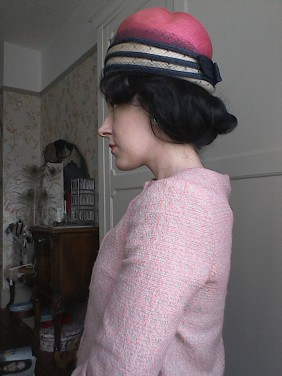 Pink and navy Sixties hat - side