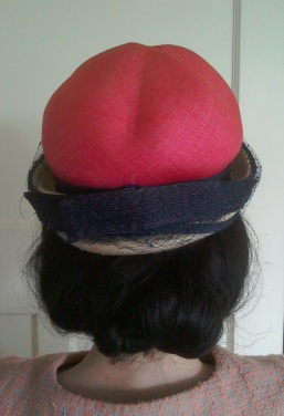 Pink and navy Sixties hat - back